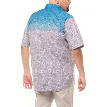 blue short sleeve printed tops