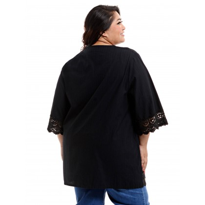 3/4 sleeve embroidery kurti tunic with crochet lace in black
