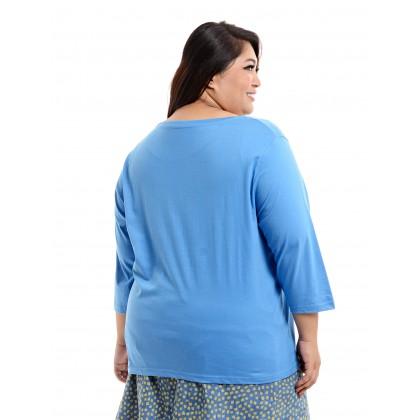 3/4 sleeve round neck tee in blue
