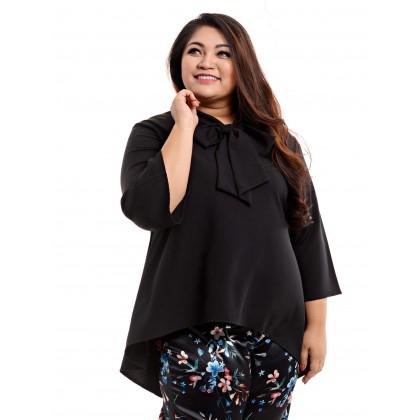 3/4 sleeve kurung top in black